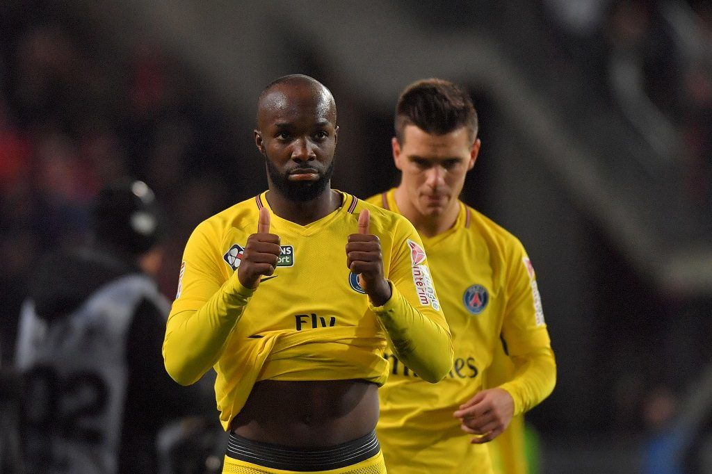 Paris Saint-Germain's midfielder Lassana Diarra reacts during the French League Cup football semi-final match between Rennes and Paris Saint-Germain at the Roazhon Park stadium in Rennes on January 30, 2018. / AFP PHOTO / LOIC VENANCE