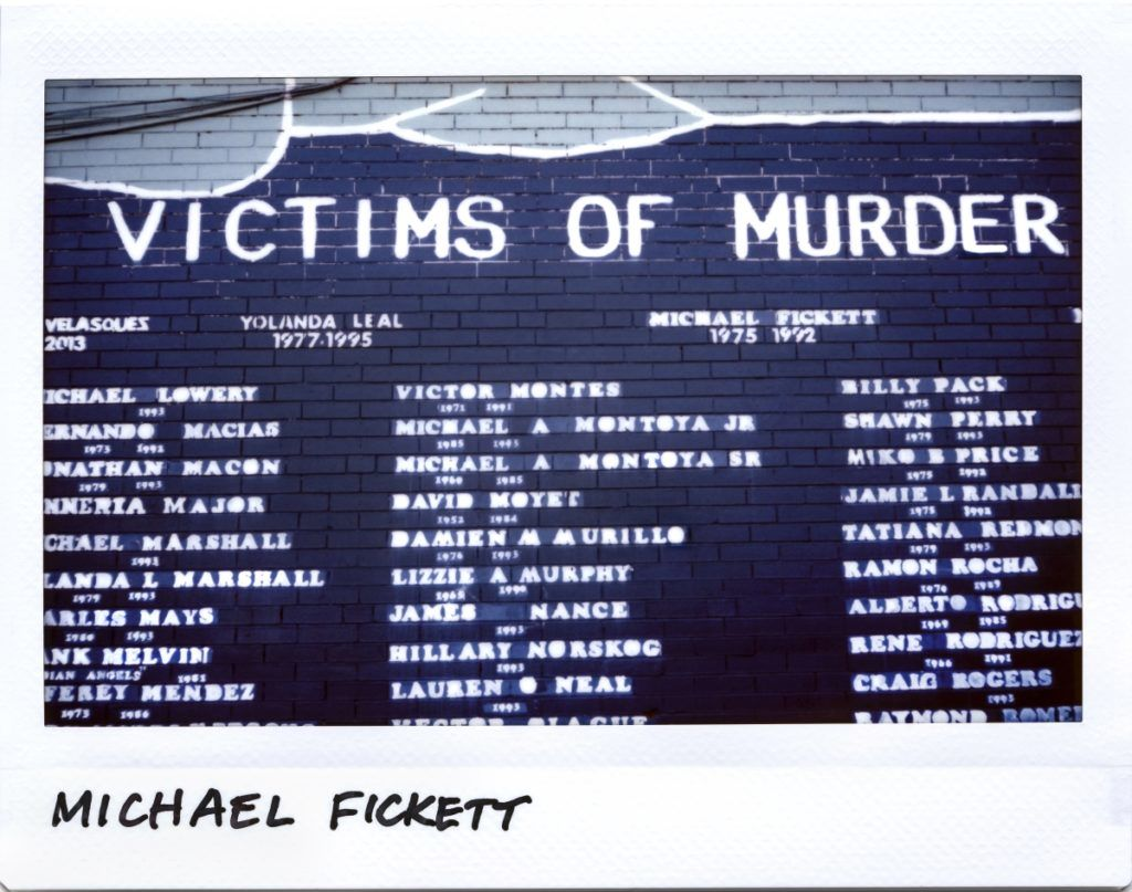 Michael Fickett,17-year-old, is remembered on a mural for victims of murder in the 2700 block of 47th street in Chicago, Illinois on September 20, 2017.  