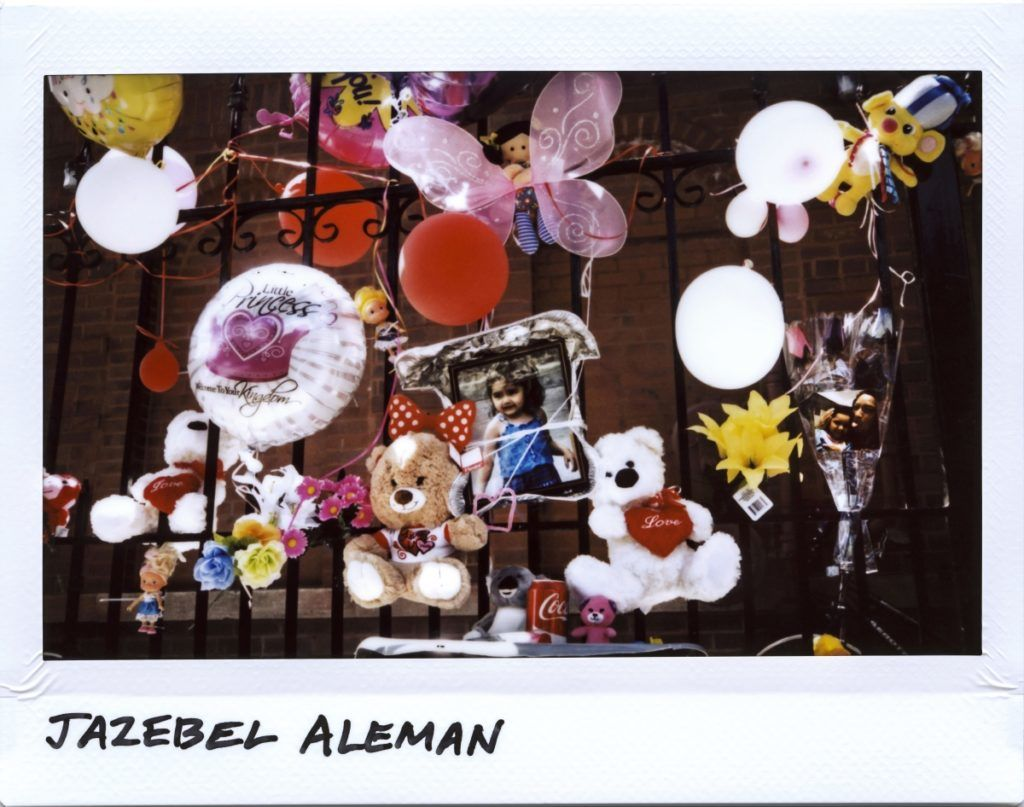 A memorial for Jazebel Aleman, 3-year-old, near her home in the 2500 block of South Homan Avenue in Chicago, Illinois on June 21, 2017. 