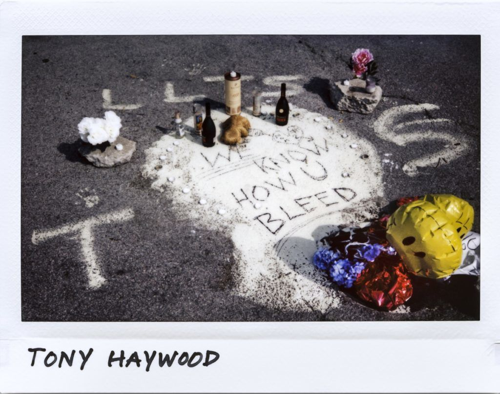 A memorial in a parking lot for Tony Haywood, 25-year-old, in the 7900 block of South Chicago Avenue in Chicago, Illinois on July 23, 2017. 