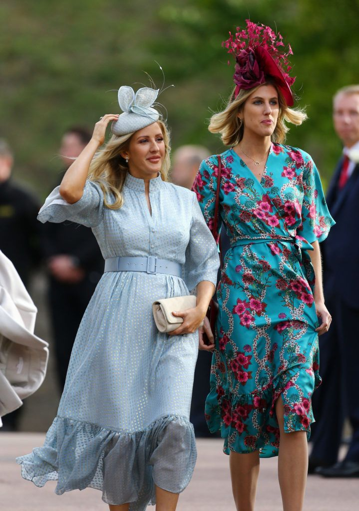 WINDSOR, ENGLAND - OCTOBER 12: Ellie Goulding (L) arrive ahead of the wedding of Princess Eugenie of York to Jack Brooksbank at Windsor Castle on October 12, 2018 in Windsor, England. (Photo by Gareth Fuller - WPA Pool/Getty Images)