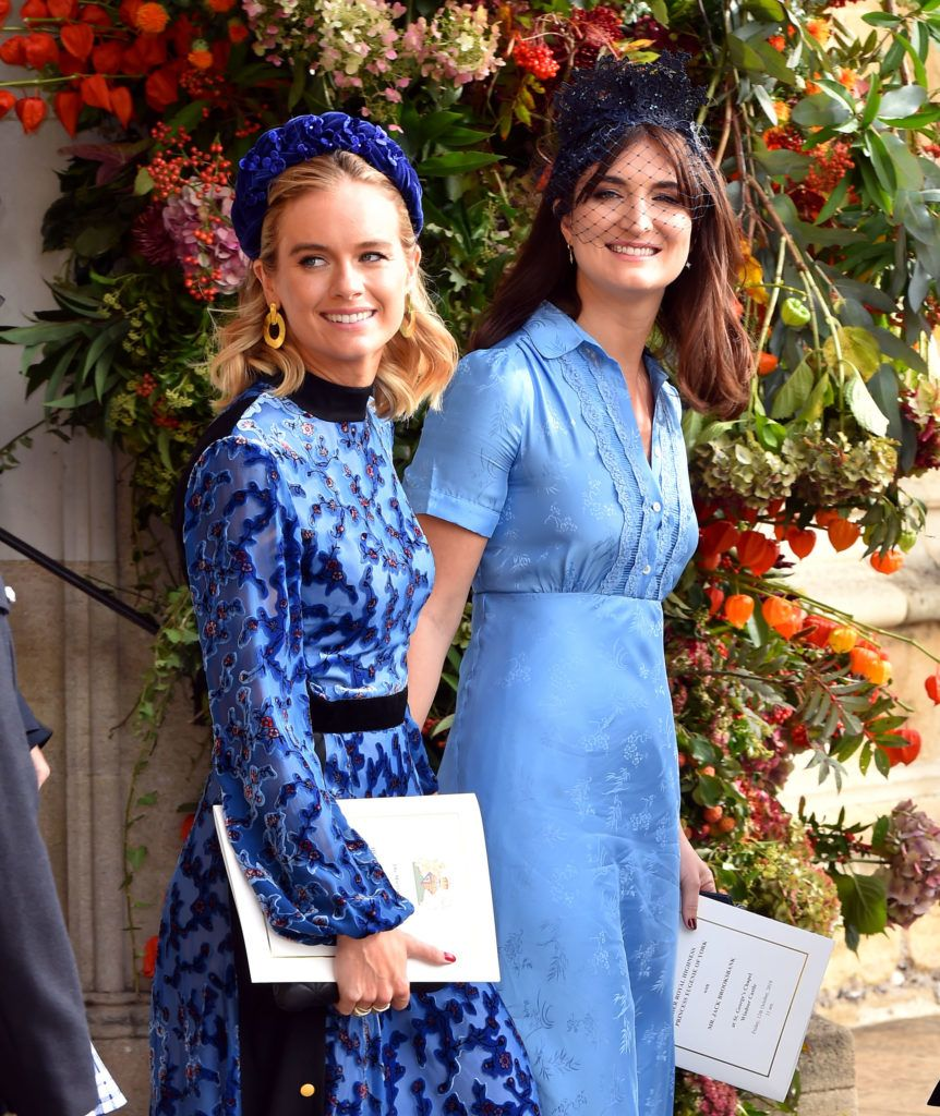 WINDSOR, ENGLAND - OCTOBER 12: Cressida Bonas (left) after the wedding of Princess Eugenie to Jack Brooksbank at St George's Chapel in Windsor Castle on October 12, 2018 in Windsor, England. (Photo by Matthew Crossick - WPA Pool/Getty Images)