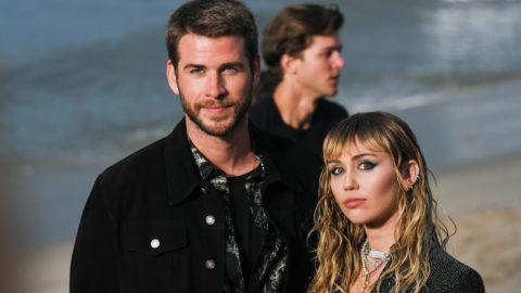 MALIBU, CALIFORNIA - JUNE 06: Liam Hemsworth and Miley Cyrus at Saint Laurent mens spring summer 20 show on June 06, 2019 in Malibu, California. (Photo by Presley Ann/WireImage,)