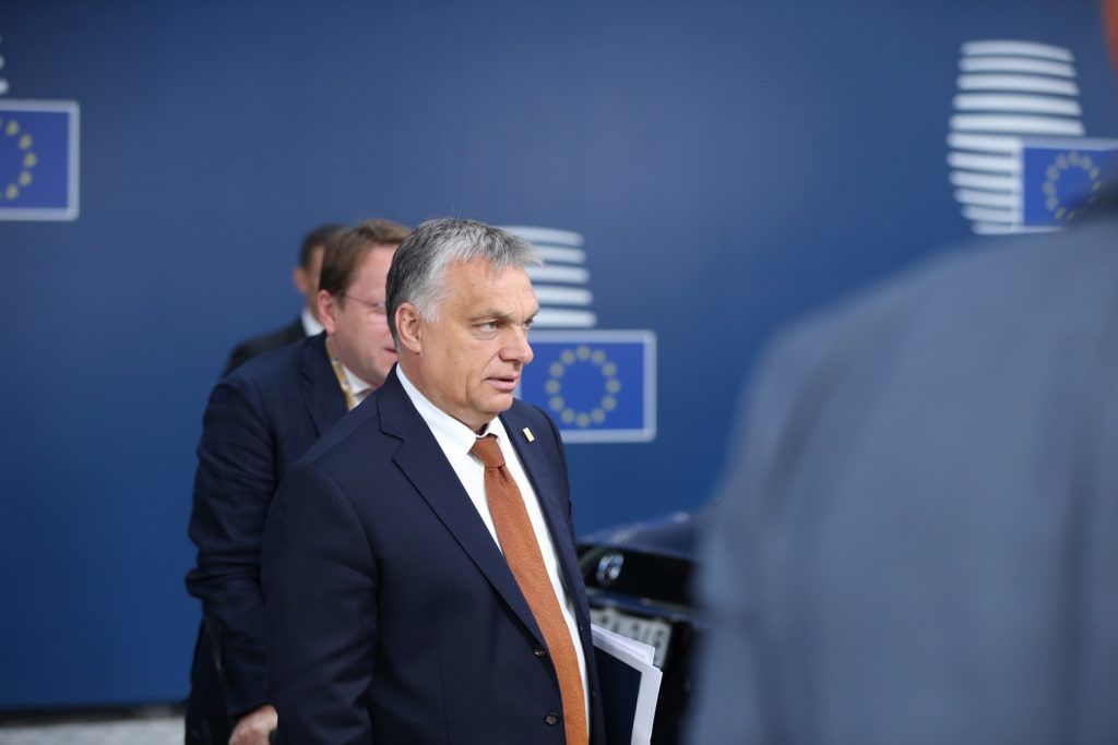 BRUSSELS, BELGIUM - JULY 2: Prime Minister of Hungary, Viktor Orban (C) arrives for the EU leaders meeting to decide who should take over bloc's top jobs, in Brussels, Belgium, 02 July 2019. Since Sunday evening, the leaders of the EU's 28 member states have been negotiating over who will get the top jobs at the EU Commission, European Council, European Parliament, and European Central Bank, as well as the high representative for foreign affairs and security policy post. Dursun Aydemir / Anadolu Agency